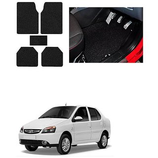 KunjZone Anti Skid Curly/Grass Car Foot Mat (Black) Set of 5 For -Tata Indigo eCS