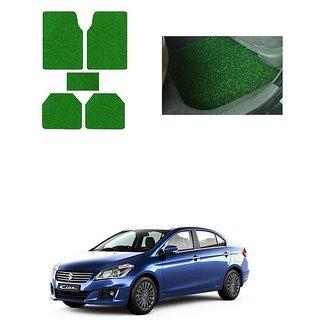 KunjZone Anti Skid Curly/Grass Car Foot Mat (Green) Set of 5  For -Maruti Suzuki Ciaz