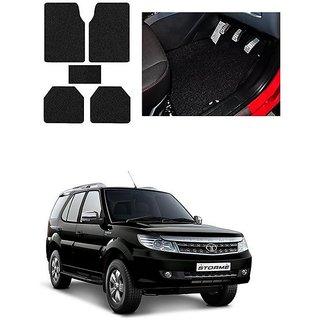 KunjZone Anti Skid Curly/Grass Car Foot Mat (Black) Set of 5 For -Tata Safari Storme