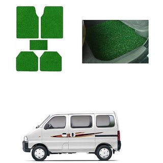 KunjZone Anti Skid Curly/Grass Car Foot Mat (Green) Set of 5  For -Maruti Suzuki Eeco