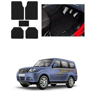 KunjZone Anti Skid Curly/Grass Car Foot Mat (Black) Set of 5 For -Tata Sumo Grande