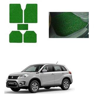 KunjZone Anti Skid Curly/Grass Car Foot Mat (Green) Set of 5  For -Maruti Suzuki Grand Vitara