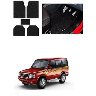 KunjZone Anti Skid Curly/Grass Car Foot Mat (Black) Set of 5 For -Tata Sumo Victa