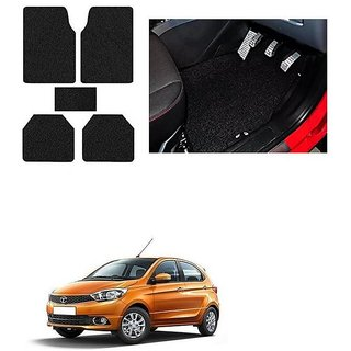 KunjZone Anti Skid Curly/Grass Car Foot Mat (Black) Set of 5 For -Tata Tiago