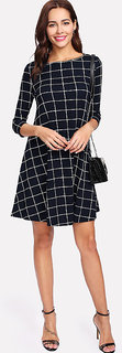 Code Yellow Check Printed 3/4th Sleeve Crepe A-Line Dress