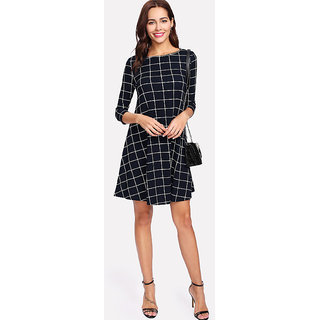 Vivient Check Printed 3/4th Sleeve Crepe A-Line Dress