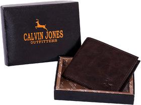 CalvinJones Men's Brown  Bi-fold Wallet Casual Leather Wallet