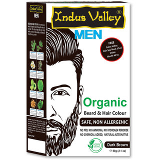 Indus Valley Men Organic Beard  Hair Colour Dark  Brown For Safe  Non Allergic 60gm