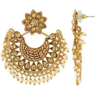 Asmitta Trendy Chandbali Shape Gold Plated Dangle Earrings For Women