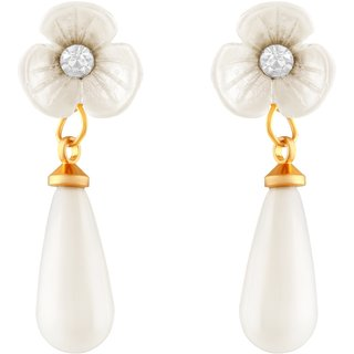 Asmitta Fancy Flower Shape Gold Plated White Stone Earrings For Women