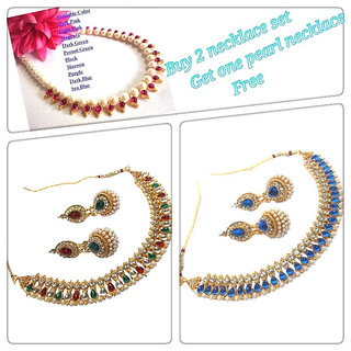 New combo Offer Buy 2 Necklace Set Get 1 Pearl Necklace Free
