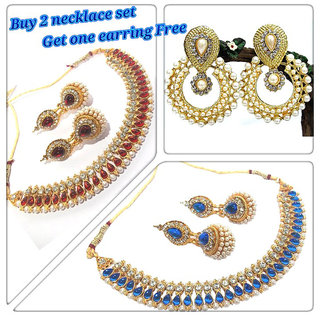 New combo Offer Buy 2 Necklace Set Get 1 Earring Free