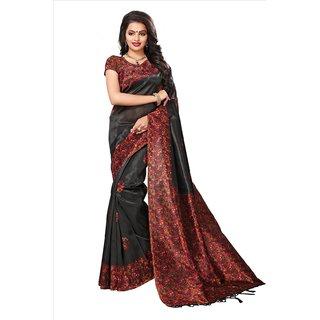 Active Womens Mysore Silk Tessal Printed Saree (Mysore Tessal S181278_Black_Free Size)