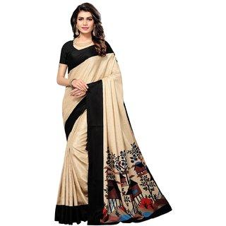 Active Womens Manipuri Printed Saree (Manipuri S181220_Beige&Black_Free Size)