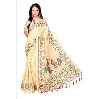 Active Womens Khadi Silk Tessal Printed Saree (Khadi Tessal S181218_Beige_Free Size)