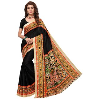 Active Womens Khadi Silk Printed Saree (KALAMKAARI 9 Black)