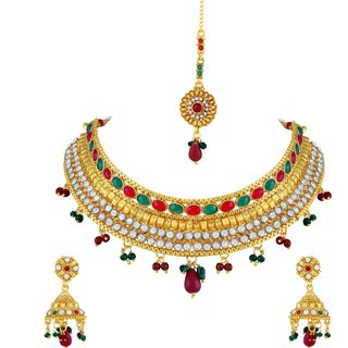 698f7853aad7e Buy Asmitta Marquise Oval Shape Gold Plated Choker Style Necklace Set With  Mangtikka For Women Online - Get 76% Off