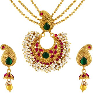82e5d72d59480 Asmitta Traditional 3 String Kuri Design Gold Plated Matinee Style Green &  Pink Stone Necklace Set For Women
