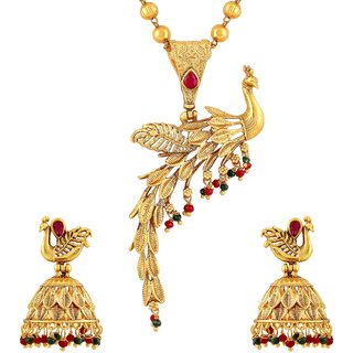 Asmitta Stylish Peacock Gold Plated Matinee Style Pink Stone Brass Necklace Mala Set For Women