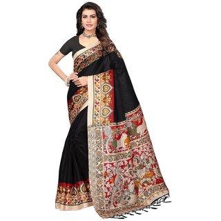 Active Womens Khadi Silk Tessal Printed Saree (Khadi Tessal S181327_Black_Free Size)