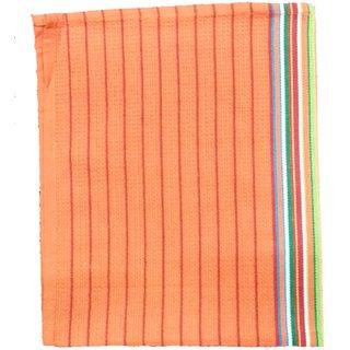 Lakshmi Trader Honeycomb With Center Border Kitchen Towel(Pack of 5  Size 5070CM Orange)