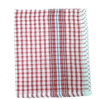 Lakshmi Trader Checked Cloth Kitchen Towel (Pack of 12  Size 3858CM Red)