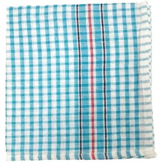 Lakshmi Trader Checked Cloth Kitchen Towel (Pack of 12  Size 3858CM Blue)