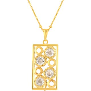 Asmitta Stylish Rectangle Shape Gold Plated Matinee Style White Stone Pendant Chain For Women