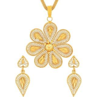 Asmitta Classy Flower Shape Gold Plated Matinee Style Pendant Set For Women