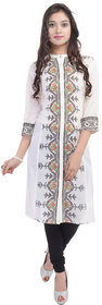 Shop Rajasthan White Casual Stitched Printed Cotton 3/4th Sleeves Kurti