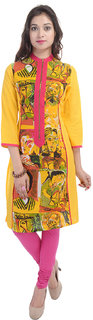Shop Rajasthan Yellow Casual Stitched Printed Cotton 3/4th Sleeves Kurti