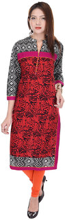 Shop Rajasthan Red Casual Stitched Printed Cotton 3/4th Sleeves Kurti