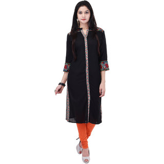 Shop Rajasthan Black Casual Stitched Plain Rayon 3/4th Sleeves Kurti