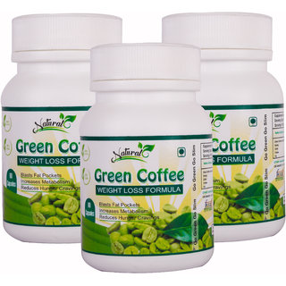 Natural Health Care Green Coffee weight loss Formula 60 Veg Capsules 100 Natural Shelf life 18 months Safe for daily use. (Pack Of 3 )