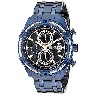c2f948b797a Guess Mens U0522G3 Iconic Blue   Rose Gold-Tone Stainless Steel Chronograph  Watch with Date Function