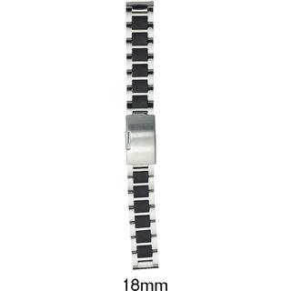 Kolet 18 mm Stainless Steel Watch Strap (Silver/Black)