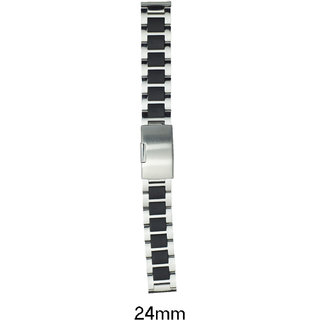 kolet 24 Mm Stainless Steel Watch Strap (Silver/Black)