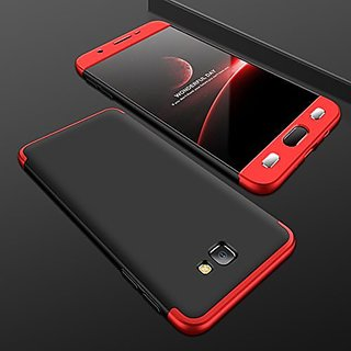 MOBIMON Samsung Galaxy J7 Max Front Back Case Cover Original Full Body 3-In-1 Slim Fit Complete 3D 360 Degree Protection Hybrid Hard Bumper (Black Red) (LAUNCH OFFER)