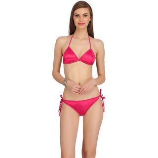Fashion Comfortz Womens Pink Satin Lingerie Set