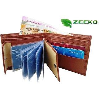 Zeeko Men Tan Artificial Leather Wallet  10 Card Slots    Pack of 10
