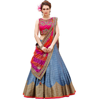unic fashion Roza Blue Gown Pink Georgette Embroidered Unstitched Lehanga