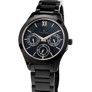 Titan Chronograph Black Dial Womens Watch-2570NM01