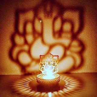 BANQLYN Shadow Diya Ganesha Shubh Arambh - Decorative Buckets MOTHERS DAY GIFTS SHADOW GANESH LAMP shadow ganesh diya candlle tea light holder