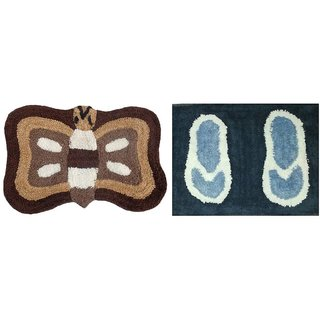 Easy Shop Bath Mat cotton Mix Floor Mat  Set of 2 Pc Multidesign and Multicolor
