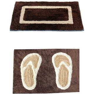 Easy Shop Bath Mat cotton Mix Floor Mat  Set of 3 Pc Multidesign and Multicolor