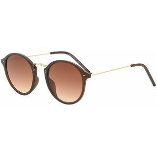 Code Yellow UV Protection Round Sunglasses For  Women-Brown Lens