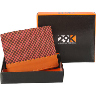 29K Artificial Leather Brown Bi-fold Mens Wallet - (29KBRWNTAN1)