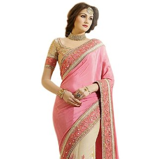 Hexa Enterprises Beige Chiffon Saree