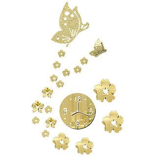 Futaba 3D Flower And Butterfly Wall Art Sticker Clock - Gold