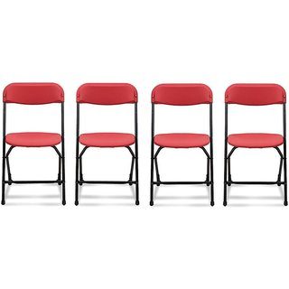 Supreme Amity Plastic Living Room Chair Set Of 4(Finish Color - Red)